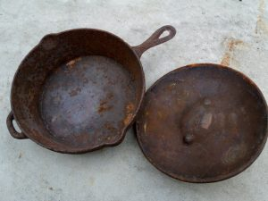 Rusty skillet and lid